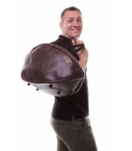 Vintage Leather Rugby Ball Weekend Travel Bag
