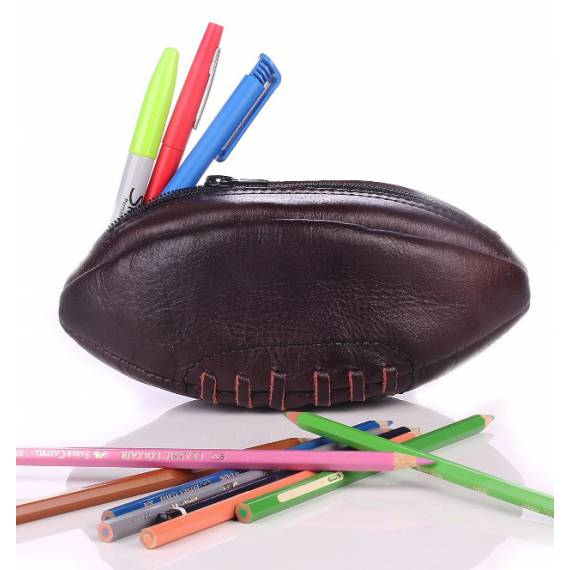 Vintage Leather Rugby Ball Pencil Case