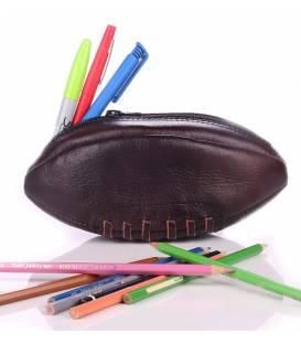 """Trousse """"Fourre Tout"""" Ballon de Rugby En Cuir Vintage"""