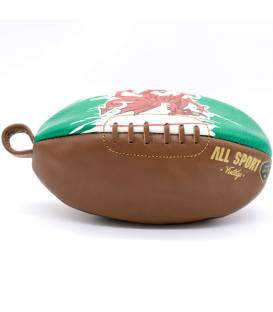 Vintage leather rugby ball shape toiletry bag Walles
