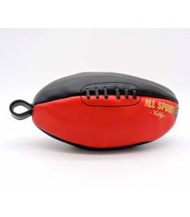 Vintage leather rugby ball shape toiletry bag Red and Black