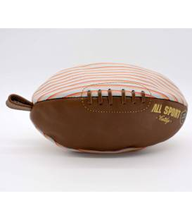 Vintage leather rugby ball shape toiletry bag Red and Yellow