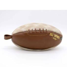 Vintage leather rugby ball shape toiletry bag Beige