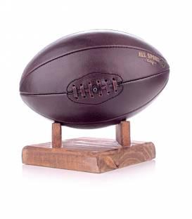 Ballon de Rugby En Cuir Vintage 8 Pans