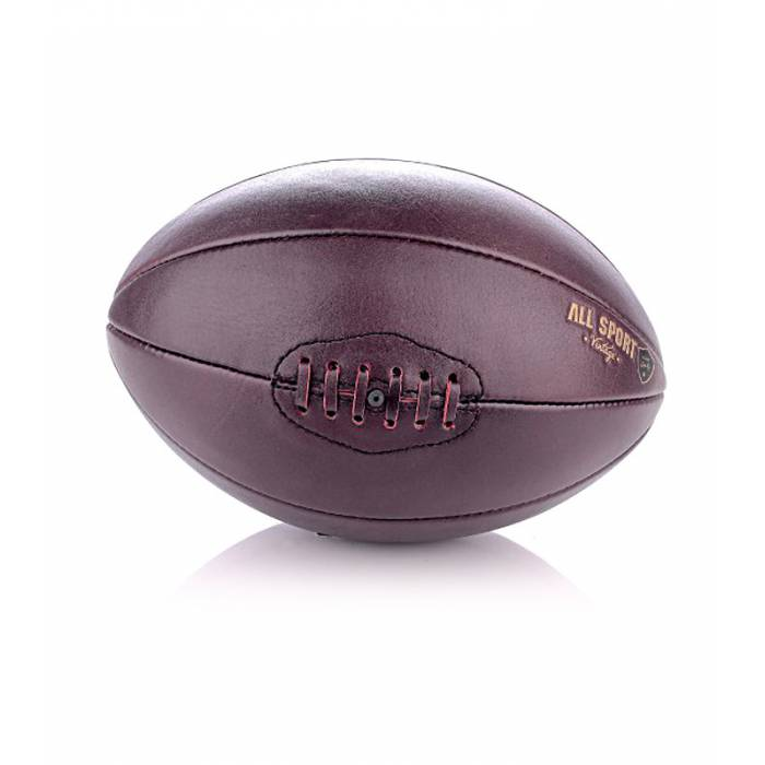 ballon de rugby 8 pans en cuir vintage all sport vintage. Black Bedroom Furniture Sets. Home Design Ideas
